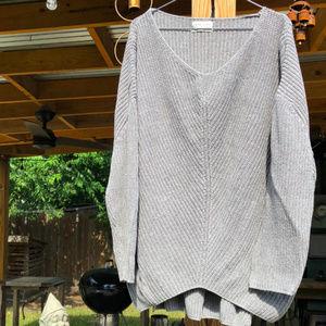 Oversized Hi-Lo V-Neck Sweater